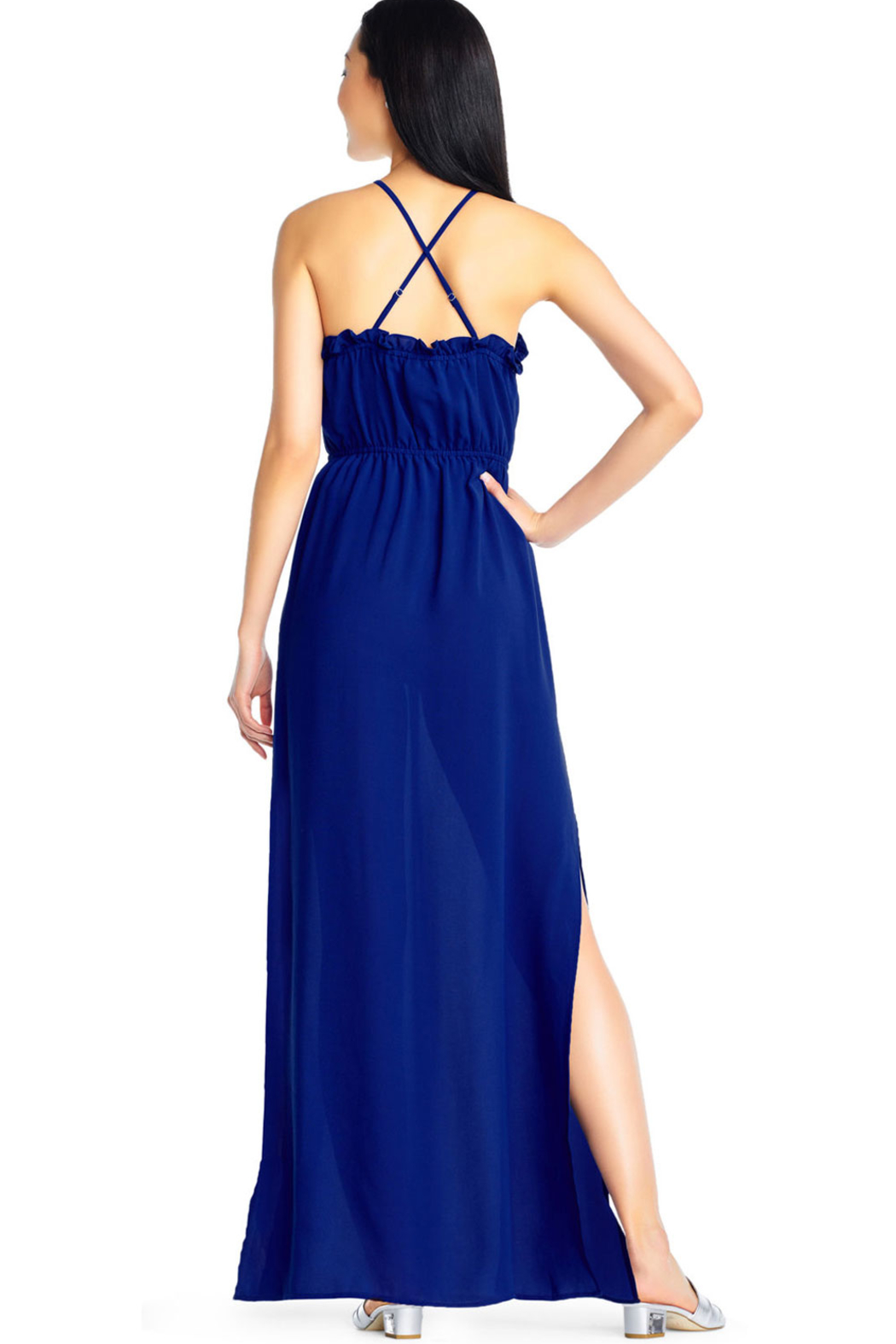 Adrianna Papell Halter Maxi Dress - Back Cropped Image