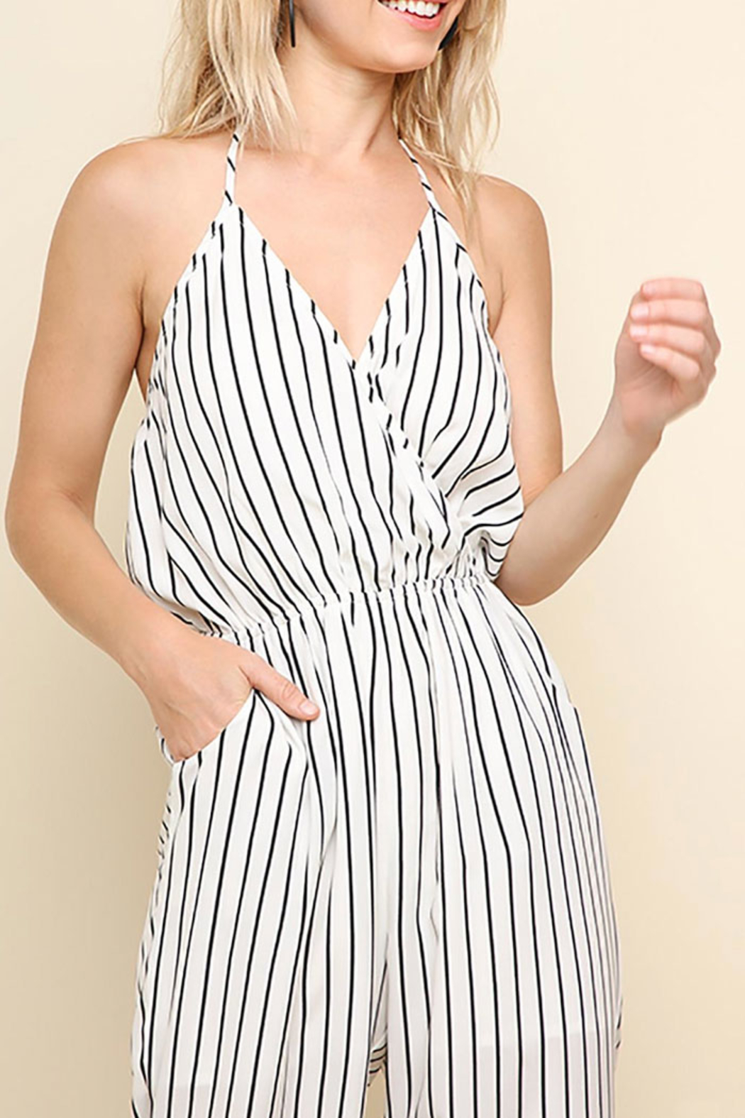 Umgee USA Halter-Neck Tie Jumpsuit - Front Full Image