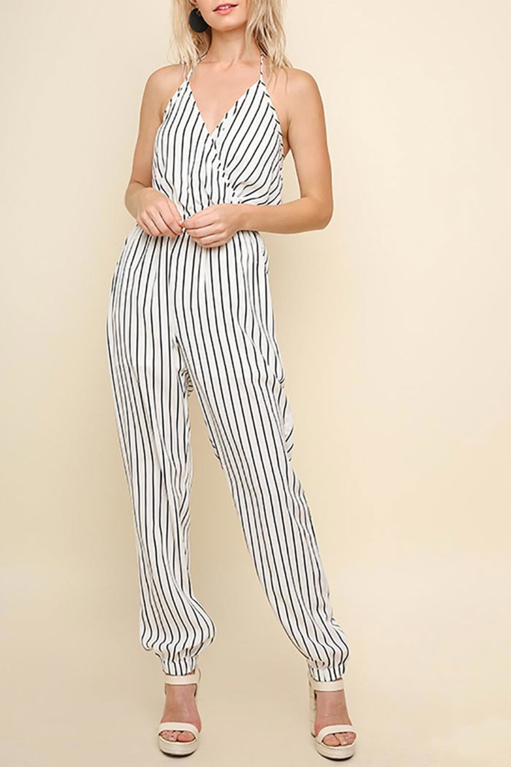 Umgee USA Halter-Neck Tie Jumpsuit - Front Cropped Image
