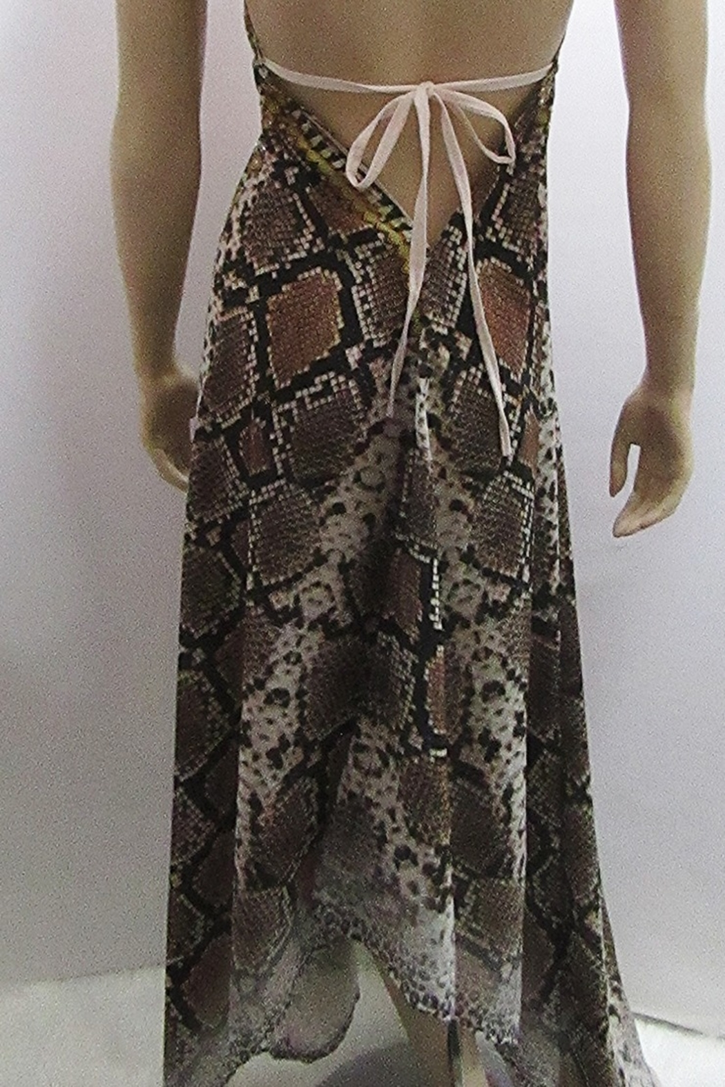 Indian Tropical HALTER SATEEN PRINT DRESS - Side Cropped Image
