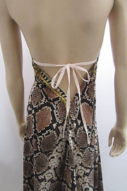 Indian Tropical HALTER SATEEN PRINT DRESS - Back cropped