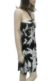 India Boutique HALTER STYLE BLACK & WHITE FLORAL DRESS - Product Mini Image