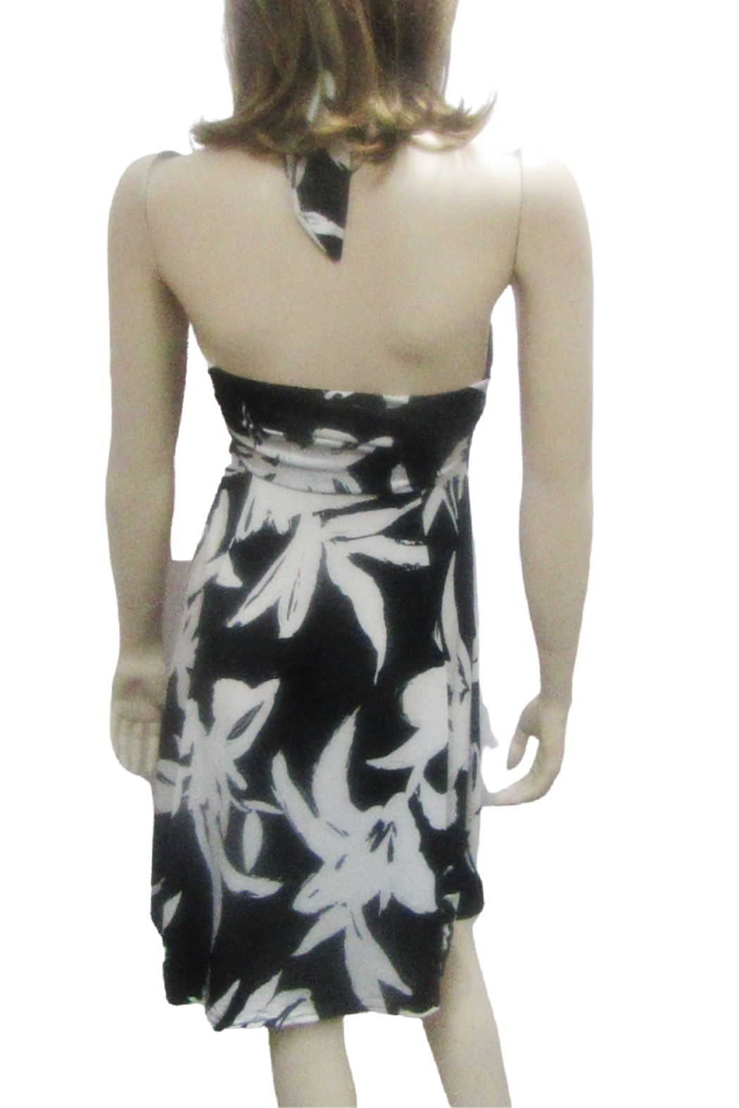 India Boutique HALTER STYLE BLACK & WHITE FLORAL DRESS - Front Full Image