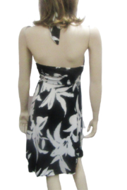 India Boutique HALTER STYLE BLACK & WHITE FLORAL DRESS - Front full body