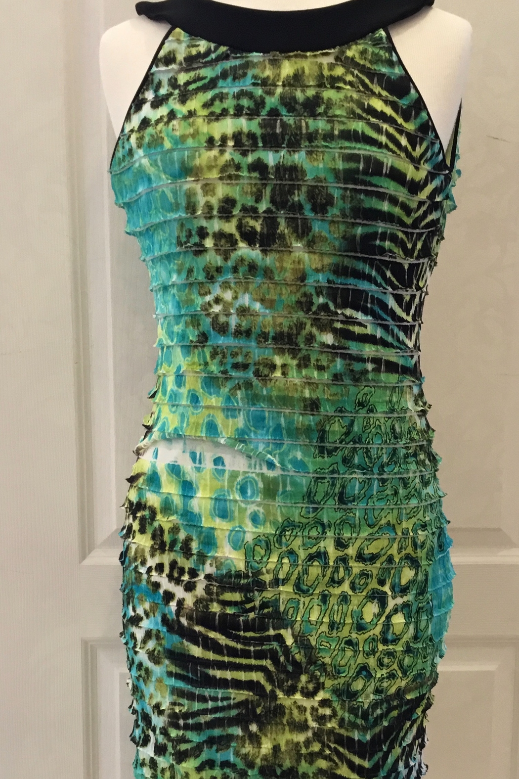 Joseph Ribkoff halter top green, black, turquoise dress - Main Image
