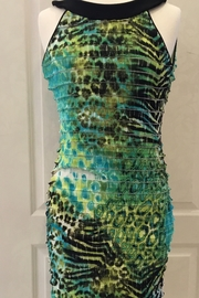 Joseph Ribkoff halter top green, black, turquoise dress - Front cropped