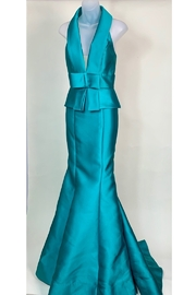 Mac Duggal HALTER TOP V NECK GOWN - Product Mini Image