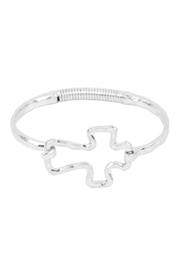 Riah Fashion Hammered-Cast-Cross Hinge-Cuff-Bracelet - Front cropped