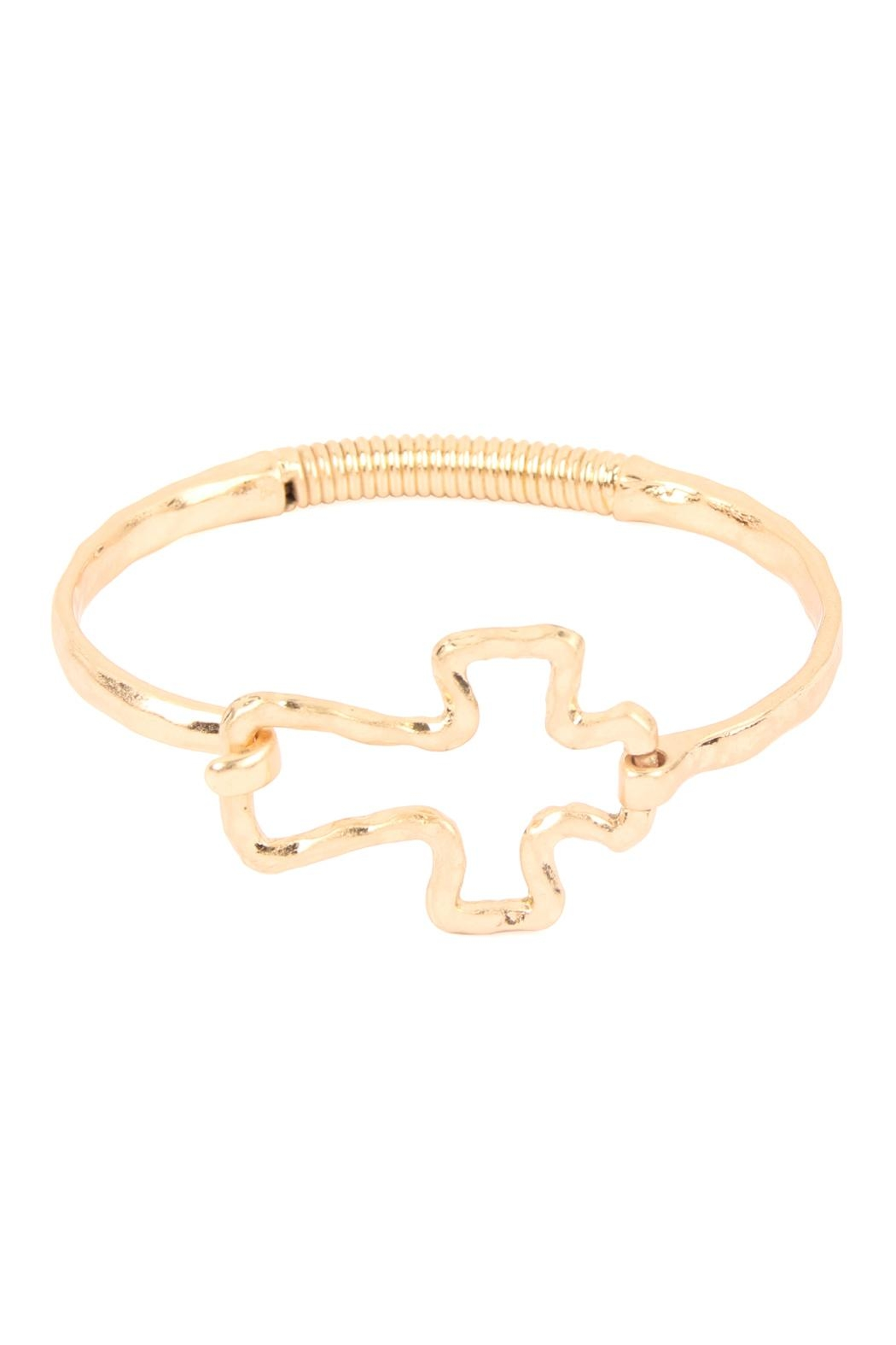 Riah Fashion Hammered-Cast-Cross Hinge-Cuff-Bracelet - Front Cropped Image