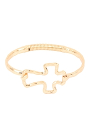 Riah Fashion Hammered-Cast-Cross Hinge-Cuff-Bracelet - Product Mini Image
