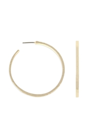 Riah Fashion Hammered-Cast-Post Hoop Earring - Product Mini Image