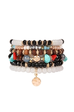 Riah Fashion Hammered-Charm Stackable Bracelet - Product List Image