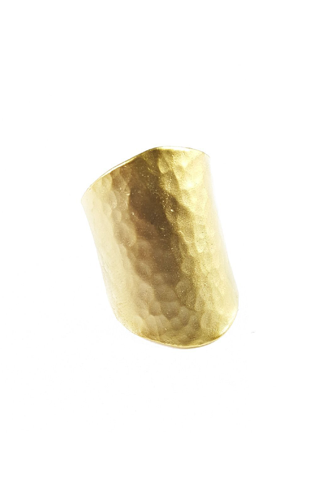 Fabulina Designs Hammered Gold Cuff Ring - Front Cropped Image