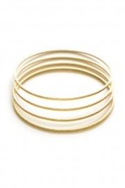 Amano Trading Hammered Gold Set of 4 Bracelets - Front cropped