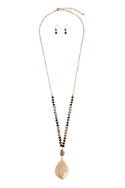 Riah Fashion Hammered-Leaf-Plate Necklace-And-Earrings-Set - Product Mini Image