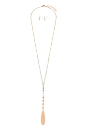 Riah Fashion Hammered-Oblong-Plate Pendant-Long-Necklace - Product Mini Image