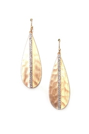 Its Sense Hammered Teardrop W/Crystal Earring - Product Mini Image