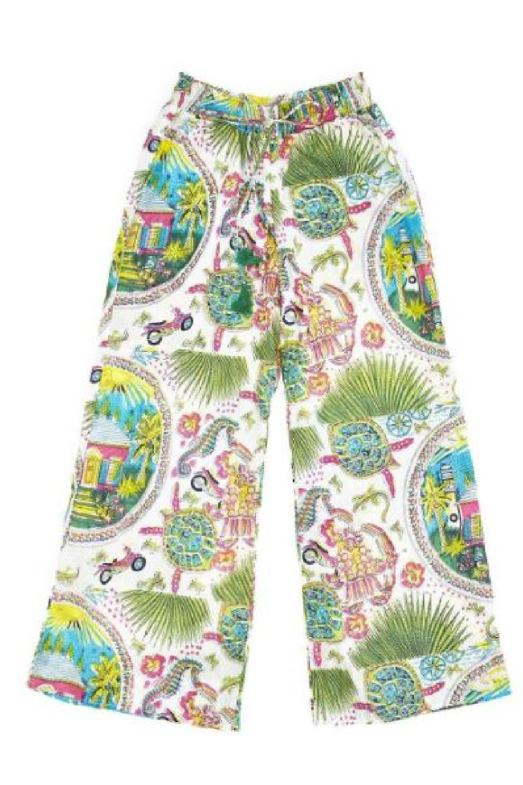 Two's Company Hampton Beach Wide Leg Drawstring Lounge/Beach Pants - Side Cropped Image