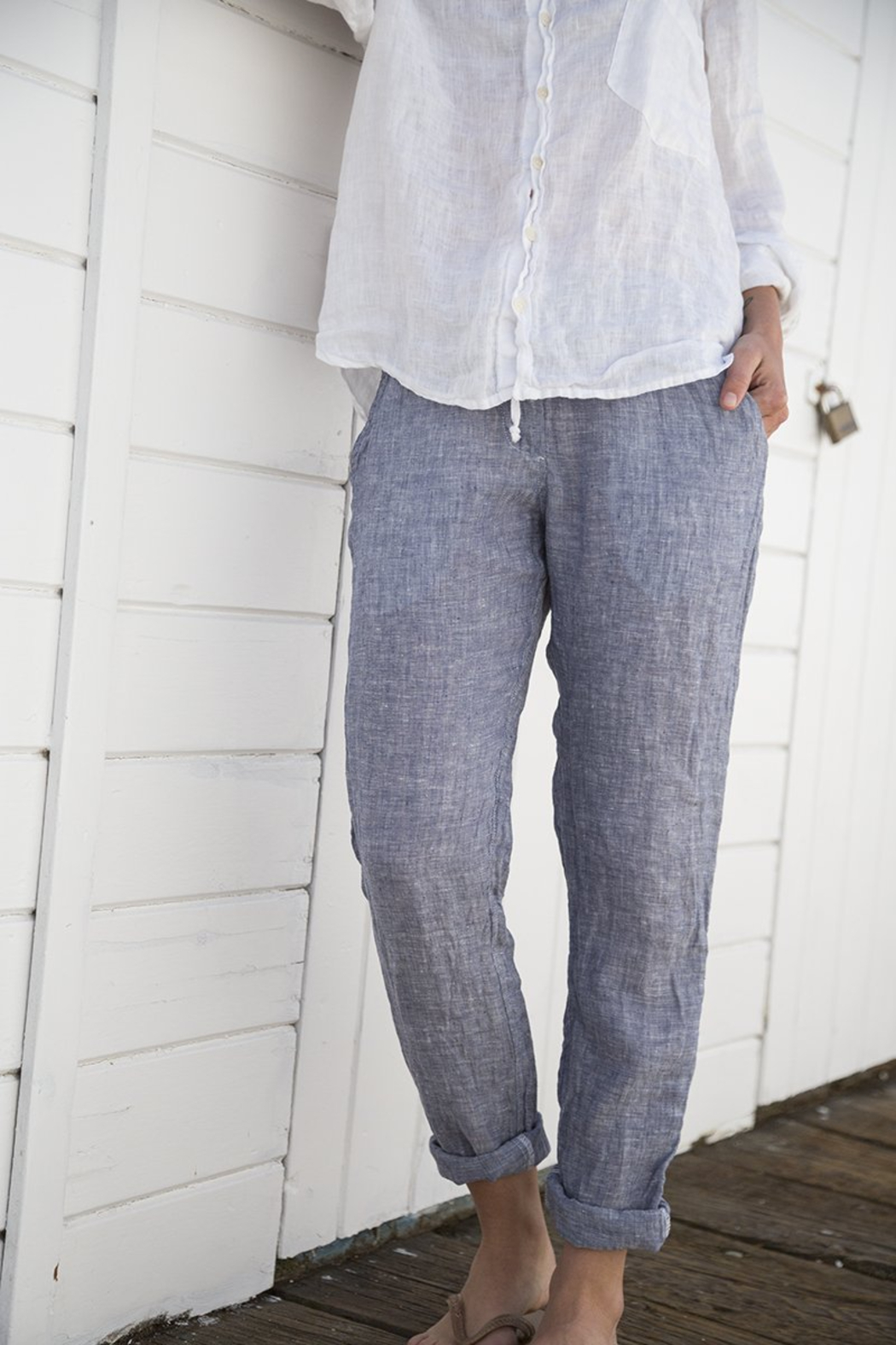CP Shades Hampton Pant Chambray - Front Cropped Image