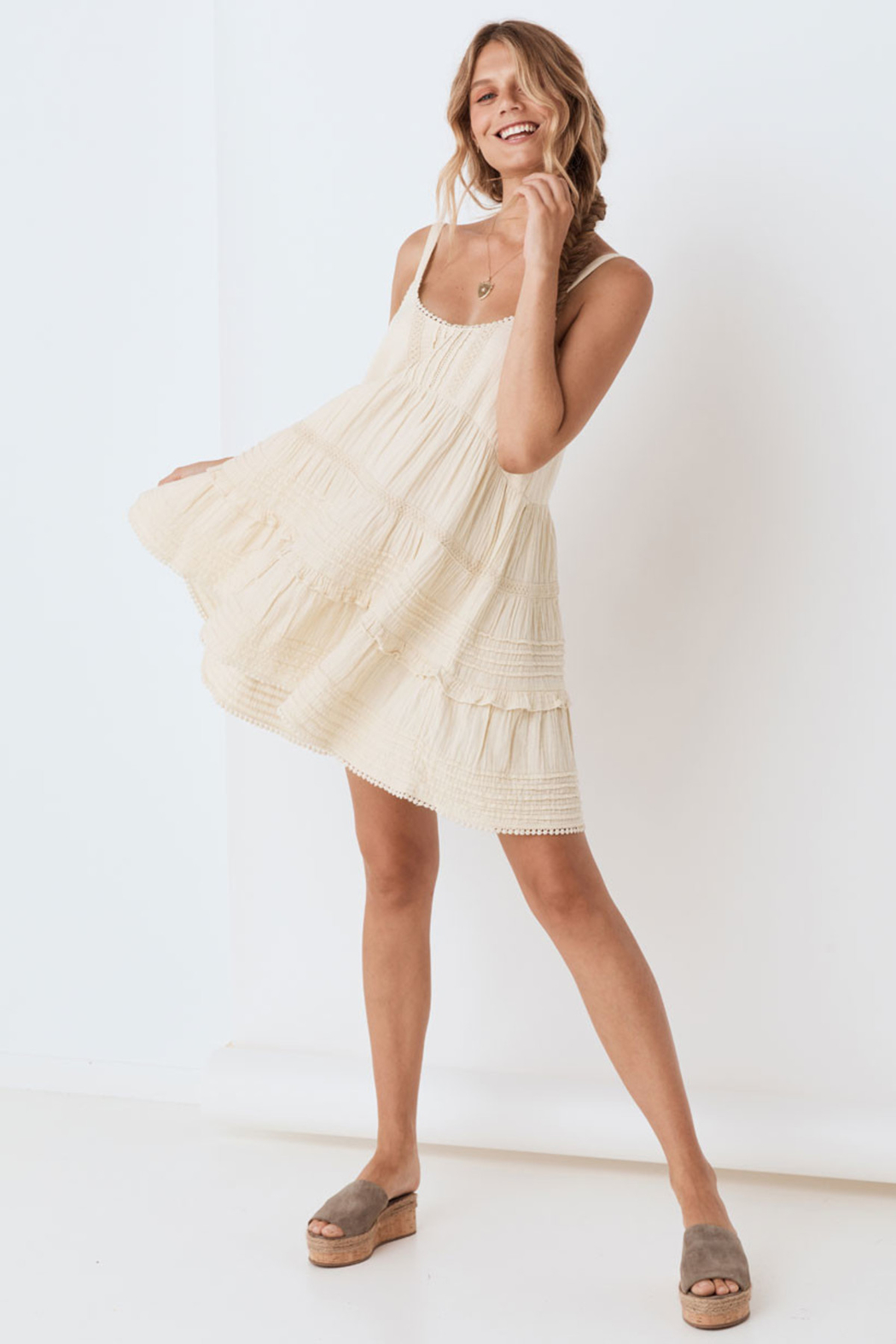 Spell & the Gypsy Collective Hanalei Strappy Mini Dress in Sand - Front Full Image