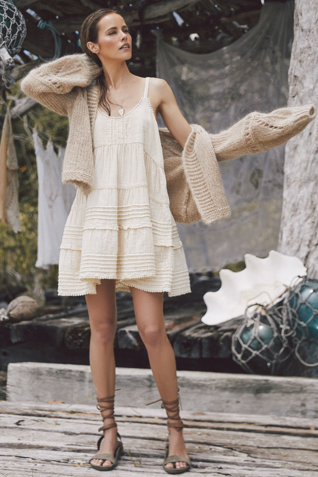 Spell & the Gypsy Collective Hanalei Strappy Mini Dress in Sand - Main Image