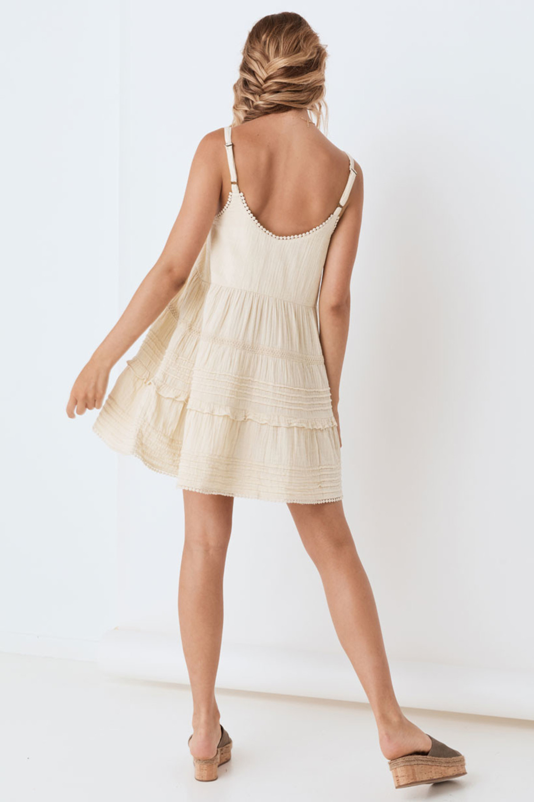 Spell & the Gypsy Collective Hanalei Strappy Mini Dress in Sand - Back Cropped Image
