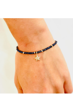 Jen Collection  Hand Beaded Blue Sapphire with 14K YG Beads and Pave Diamond Star Charm - Alternate List Image