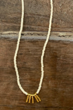 sidai Hand Beaded Necklace with Gold Fringe - Product List Image