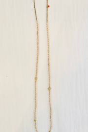 Jen Collection  Hand Beaded One Of A Kind Morganite Necklace With 14K Yellow Gold Diamond Beads - Product Mini Image