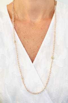 Jen Collection  Hand Beaded One Of A Kind Morganite Necklace With 14K Yellow Gold Diamond Beads - Alternate List Image