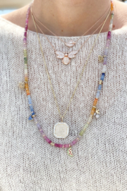 Jen Collection  Hand Beaded One Of A Kind Multi Sapphires With 14K Gold Diamond Charms - Product Mini Image