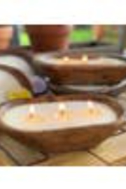 Forever Green Art Hand Carved Wooden Soy Candle - Product Mini Image