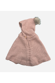 The Blueberry Hill Hand Knit Poncho With Fur Pom Pom - Blush - Product Mini Image