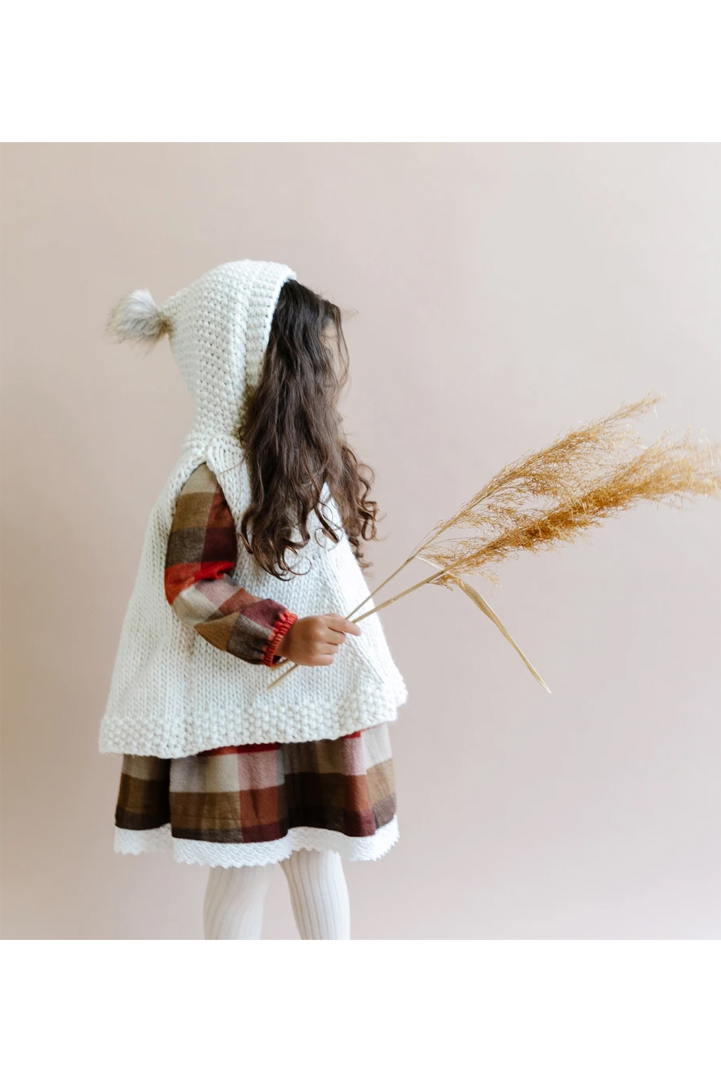The Blueberry Hill Hand Knit Poncho With Fur Pom Pom - Side Cropped Image