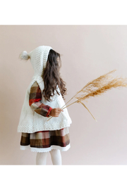 The Blueberry Hill Hand Knit Poncho With Fur Pom Pom - Side cropped