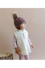 The Blueberry Hill Hand Knit Poncho With Fur Pom Pom - Front full body