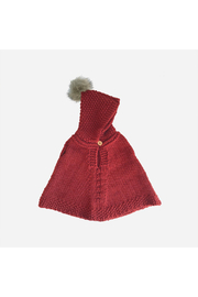 The Blueberry Hill Hand Knit Poncho With Fur Pom - Red - Product Mini Image