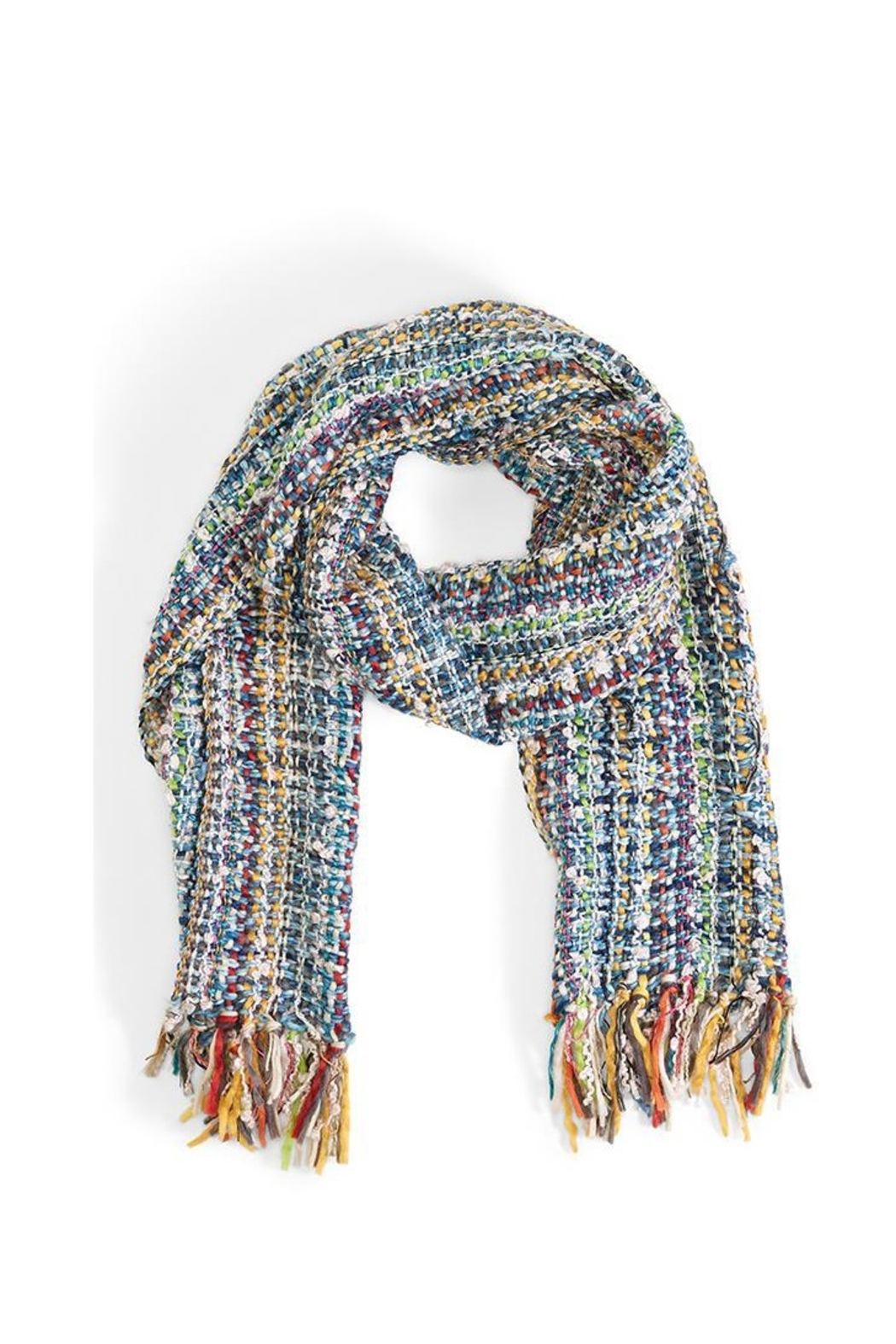 Two's Company Hand Knit Scarf w/ Tassels - Side Cropped Image