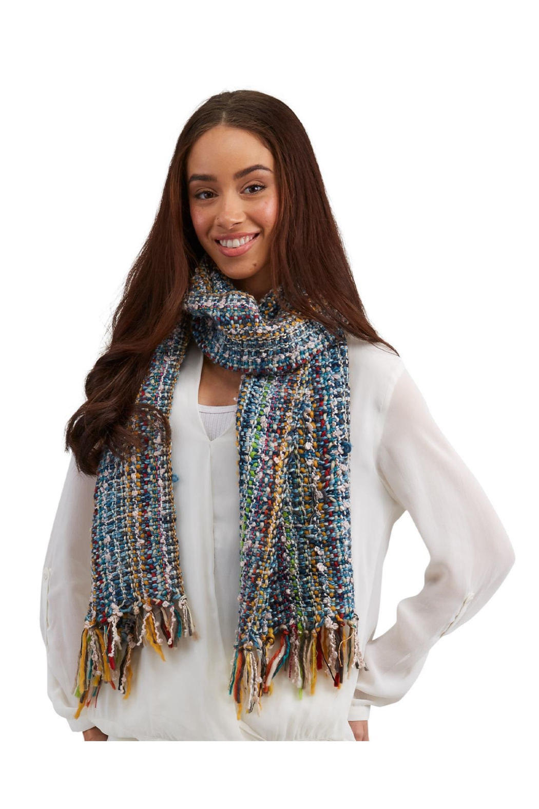Two's Company Hand Knit Scarf w/ Tassels - Main Image