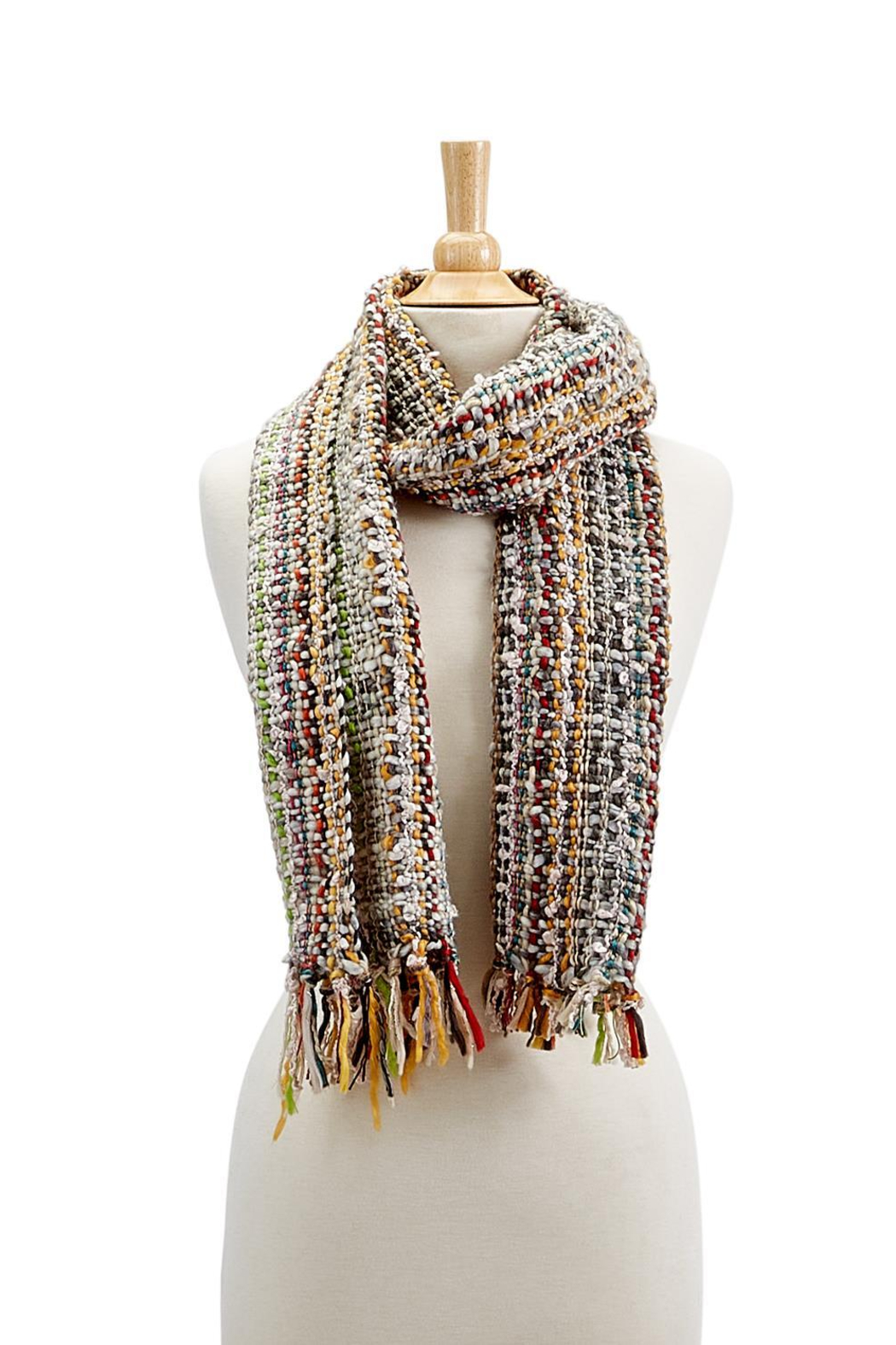 Two's Company Hand Knit Scarf w/ Tassels - Front Full Image