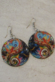KIMBALS Hand Painted Round Drop Earring - Product Mini Image