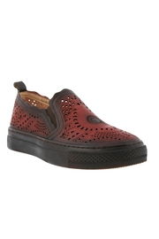 Spring Footwear Hand-painted Leather Slip on - Front cropped