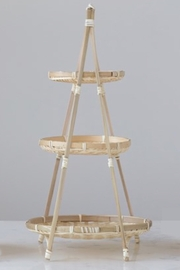 Creative Co-Op Hand-Woven Bamboo 3-Tier Tray with Removeable Tray - Product Mini Image