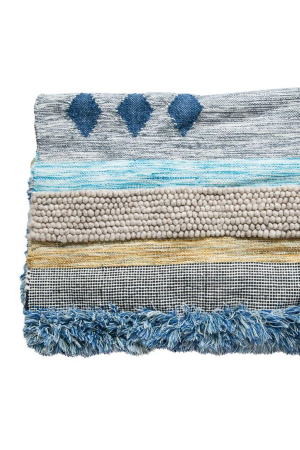 Bloomingville Hand Woven Fringe Rug - Front Full Image