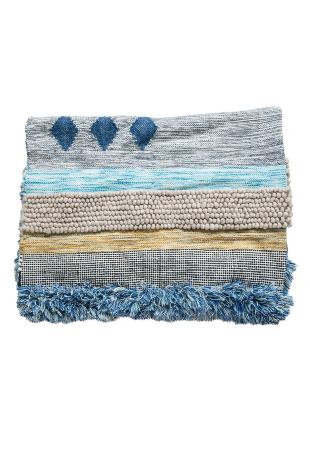 Bloomingville Hand Woven Fringe Rug - Main Image