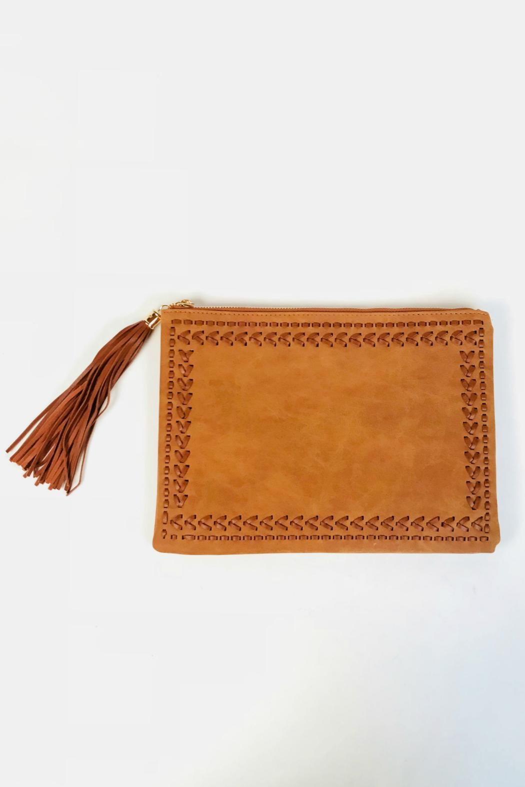 Handbag Republic Stitched Tassel Clutch - Front Cropped Image
