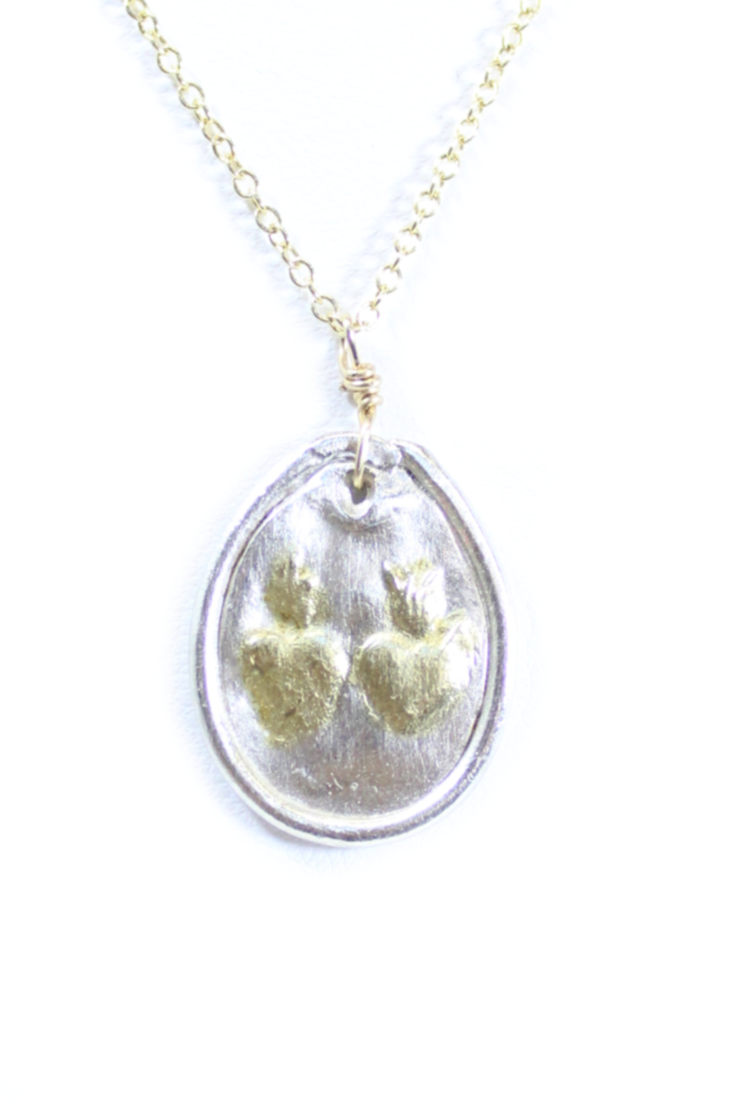 The Birds Nest HANDCRAFTED FINE SILVER OVAL SACRED HEART AND IMMACULATE HEART-16IN - Front Full Image