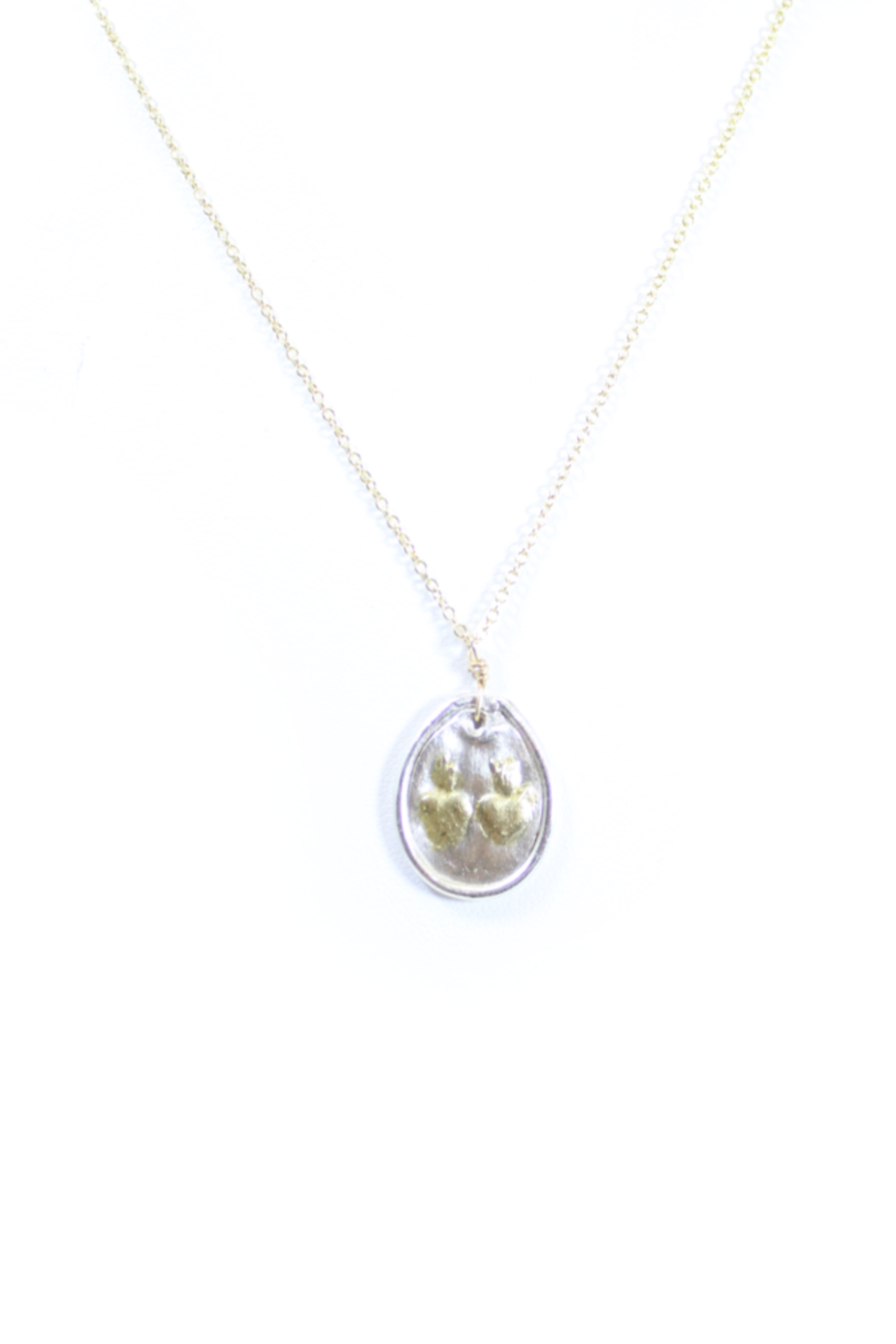 The Birds Nest HANDCRAFTED FINE SILVER OVAL SACRED HEART AND IMMACULATE HEART-16IN - Main Image