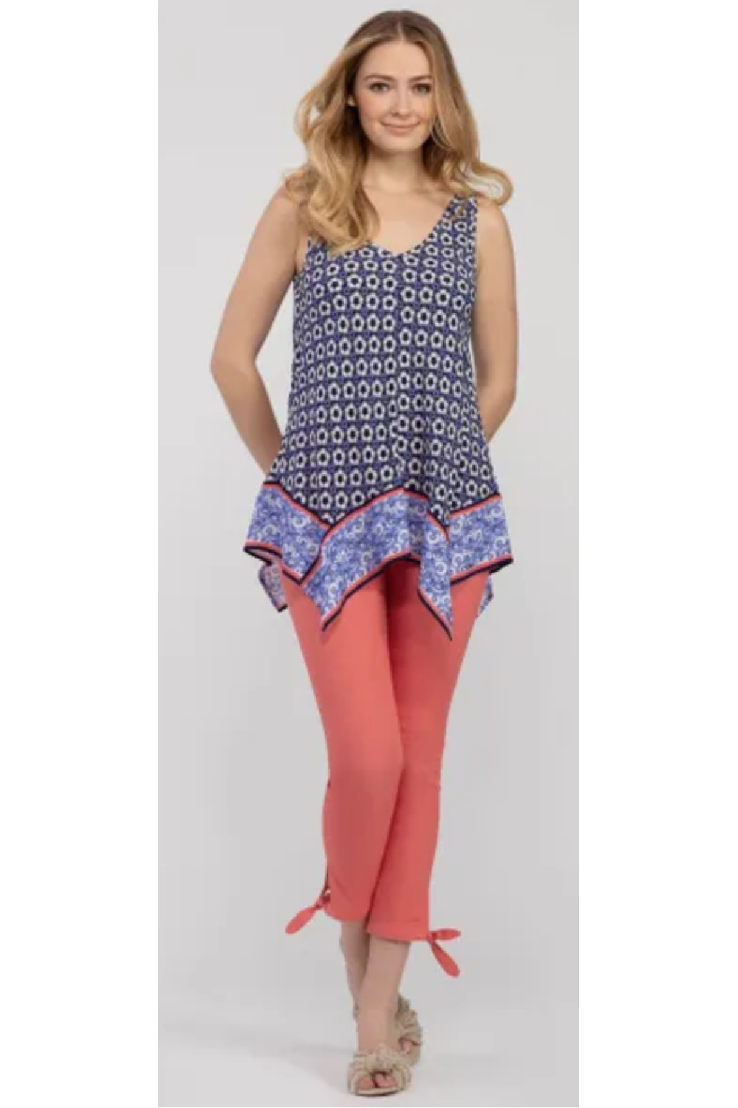 Tribal  Handkerchief Print Blouse - Front Cropped Image