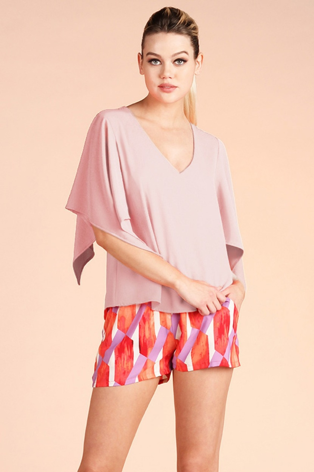 Tyche Handkerchief Sleeve Top - Front Cropped Image